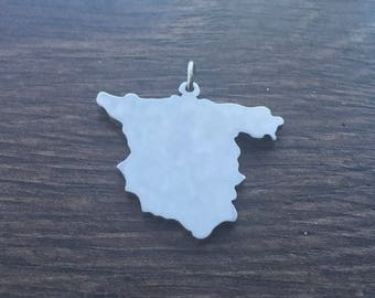 Spain county map sihouette Pendant handmade by saw piercing with optional chain