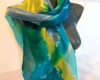 """Brushstrokes"" hand painted silk scarf"