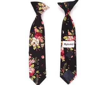 Boys Floral Clip On Tie 2.3"