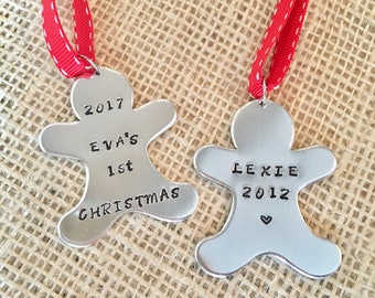 Personalised Christmas Bauble, Gingerbread Man, Tree Decoration, Christmas Ornament, Baby's 1st Christmas, Name Bauble, Christmas Bauble