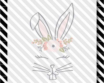Bunny Face svg - Cute Bunny Face svg - Easter svg - Rabbit Ears svg - Bunny Ears svg - Cute Bunny cutfile - Bunny dxf - Easter Bunny svg