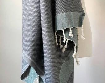 SALE Big Gray Cotton Towel - Natural Fouta Towel - Travel towel throw - Organic Bathroom textile - Towel throw  - Gray Green Stripe towel -