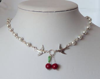 rockabilly necklace swallows and cherries white pearls collier pinup hirondelles et cerises tattoo tatouage pin up pin-up inked girl