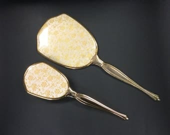 Gold Toned Vintage Hand Held Vanity Miror and Brush Set