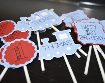 Train Themed Cupcake Toppers - Set of 6, 12, 18 or 24+