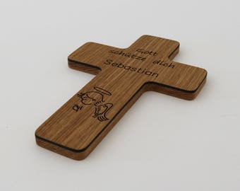 Placing with name children's Cross of wood with engraving-Oak