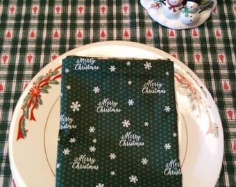 Christmas Cloth Napkins. Trees on one side and Merry Christmas on other side.