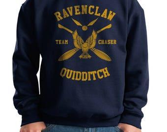 CHASER - Ravenc Quidditch team Chaser Yellow printed on Youth / Kids Crewneck Sweatshirt
