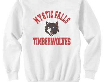 Mystic Falls Timberwolves Full Color print on Crew neck Sweatshirt