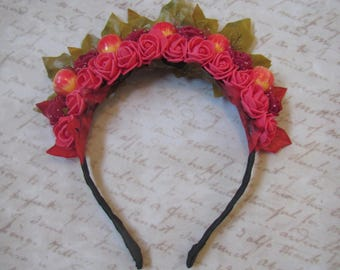 Autumn headband, Hair hoop with Roses and apples. Hair accessories. Flower hair hoop, Autumn flowers, Red Rose. Wedding accessories