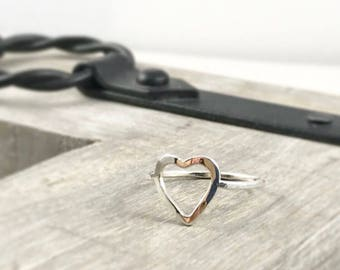 Open Heart Hammered Ring, Heart Ring, Silver Ring, Valentines Gift, Mothers Gift, Gift for Her