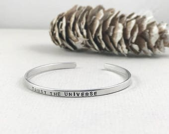 Mantra Bracelet, personalized Metal Bracelet, trust the Universe, Hand Stamped Cuff, quote bracelet, personalized gift