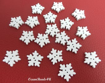 25 Snowflake Wooden Buttons, Snowflake Wooden Buttons, Sewing Buttons, Printed Buttons, Wooden Buttons, Holzknöpfe