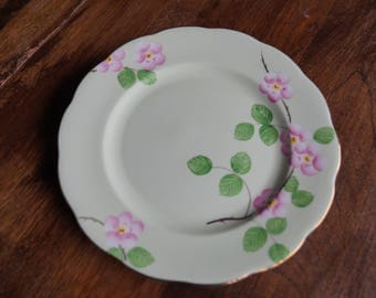 "Royal Albert ""Evangeline"" Salad Plate, Green with Pink Blossoms"