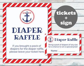Nautical Diaper Raffle Ticket, Printable Diaper Insert Ticket, Nautical Baby Shower Printable Diaper Card, Anchor Baby Shower Raffle Ticket