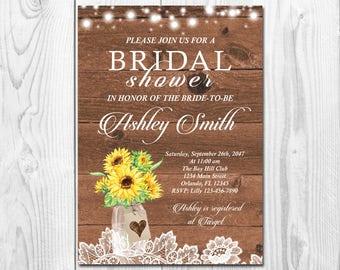 Rustic Bridal Shower Invitation Printable, Sunflower Bridal Shower Invitation, Mason Jar Fall Bridal Shower Invitation Autumn Bridal Shower