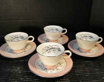 FOUR Homer Laughlin Cavalier Springtime Footed Tea Cup Saucer Sets CV32 Pink 4 EXCELLENT!