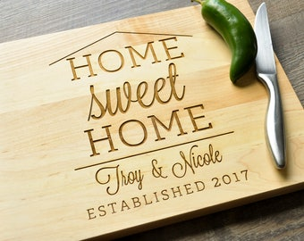 Home Sweet Home Cutting Board, Engraved Cutting Board, Custom Personalized Wedding Gift, Housewarming Gift, Anniversary Gift, Realtor Gift