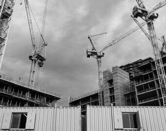 Black And White Print, Crane Photo, Crane Print, Construction Print, London Photography, Stratford Print, Wall Art, Home Decor, Wall Decor