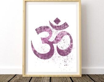 Yoga Print Art, Yoga Gift Art, Watercolor Om Symbol, Yoga Artwork, Ohm Symbol, Digital Download, Gypsy Decor, Yoga Print, Yoga Poster
