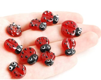 Lampwork set of 5 Ladybug beads Ladybird red black glass artisan SRA handmade jewelry jewellery supplies diy bug supply button flamework