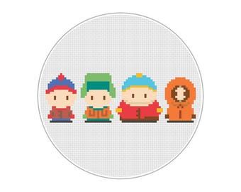 South Park (Stan, Kyle, Cartman, Kenny) - Cross Stitch Digital pattern