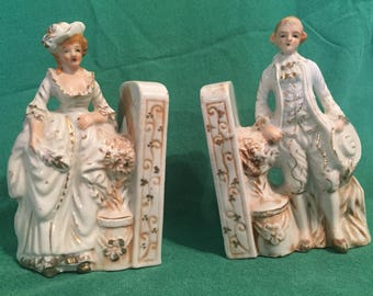 Vintage Colonial Couple Bookends