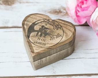 Rustic RIng Box Personalized Pillow Holder Wedding Ring Box With this Ring I thee Wed