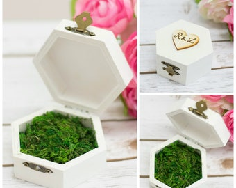 Moss Ring Pillow Wooden Ring Box Wedding Ring Holder Rustic White Ring Holder Personalized Box