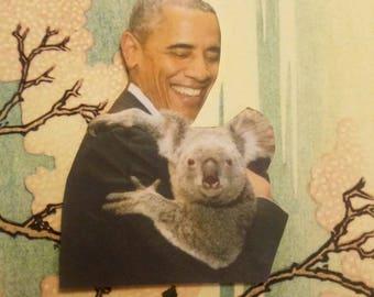 Barack Obama with a Koala Sticker