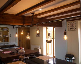 Industrial Black Iron Pipe Wrap Lighting Chandelier
