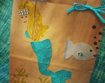 10 pack. Mermaid party bag. Under the Sea. Fish. Princess mermaid. Order exact amount. Blue, green and silver. For party favors. Glitzy.
