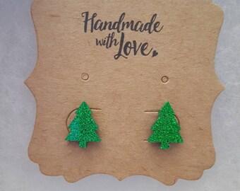 Christmas tree glitter earrings