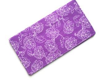 Checkbook cover, checkbook holder, wallet, receipt holder, purple floral