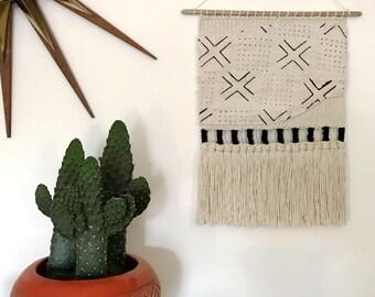 Black + White Mudcloth Handmade Woven Wall Hanging