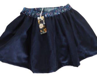 Navy linen handmade skirt