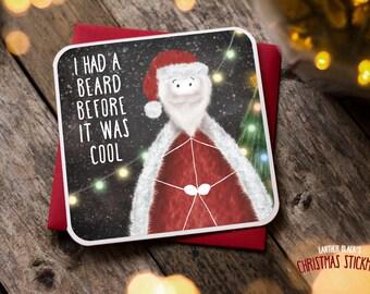 Funny Christmas Card / Christmas Card / Funny Holiday Card / Hipster Christmas card / Funny Santa Card / Hipster card / Beard card / XS15