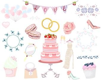 Bridal shower elements, Wedding clip art, Wedding decorations, Romantic clipart, Vintage decoration,Wedding's set, Wedding Collection, Paper