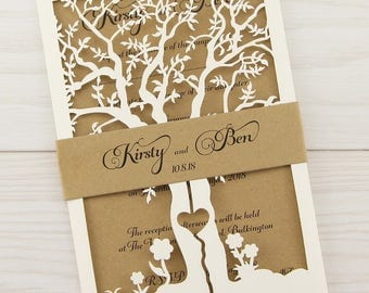 sample laurel laser cut with belly band rustic wedding invitation - Rustic Wedding Invites