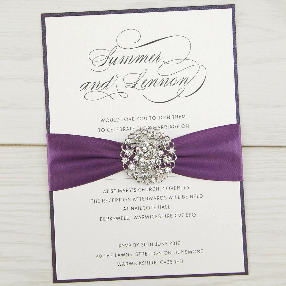 SAMPLE * Violet Parcel Wedding Invitation Satin Diamante ...