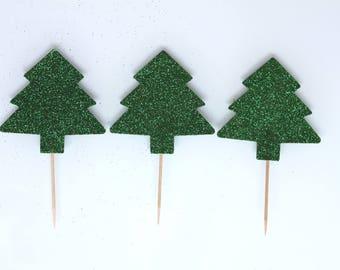 Christmas: 3 trees dark green cake toppers