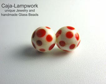 Ivory Lampwork earrings with red polka dots