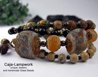 Boho style bracelet Lampwork, gems, 4 rows,
