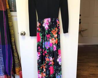 1970s Floral Maxi Dress Size SM