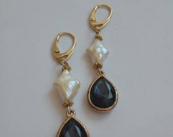 Antique vintage earrings with pearls and crystals
