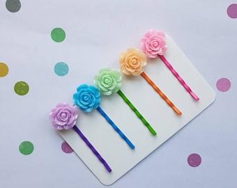 Rainbow rose hair clips/pins for girls - fun bright 5 pack pink purple blue orange green