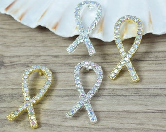 10x25mm Gold Silver Plated Rhinestone Breast Cancer Awareness Connector/Pave/Metal,Breast Cancer Awareness Pendant, Breast Cancer Awareness