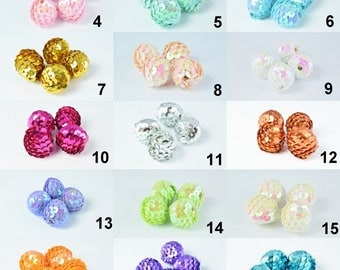 Sequin Ball Beads Bubblegum Bead/Gumball/Chunky Bead/Chunky Sequin Bead/21 Color 3 Sizes