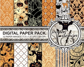 "Halloween ""digital paper pack"", background, ""printable paper"", download Pack, black, Orange, dark #11"