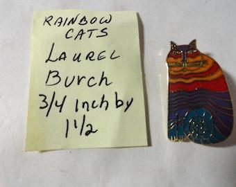 Vintage Laurel Burch Rainbow Cats Brooch 3/4 Inch by 1 1/2 inch